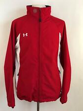 UNDER ARMOUR Medium Red White Drop Tail Polyester Full Zip Wind Rain Jacket
