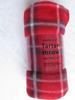 RED TARTAN FLEECE BLANKET THROW
