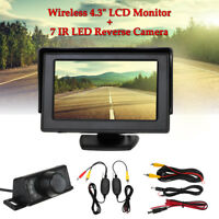 Car Backup Rear View Reverse Camera Night Vision Wireless 4.3'' TFT LCD Monitor