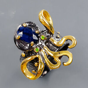 Jewelry for women Blue Sapphire Ring Silver 925 Sterling  Size 6 /R175687