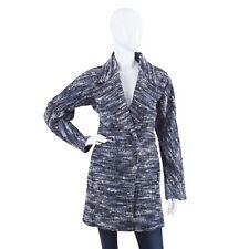 Hugo Boss Women s Comia Coat Wool Alpaca Double-Breasted Jacket Black Blue  ... bc85541e783b