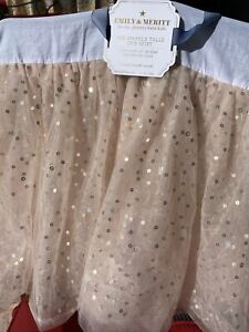 Pottery Barn Kids Emily & Meritt The Sparkle Tulle Crib Skirt Rose Pink NEW
