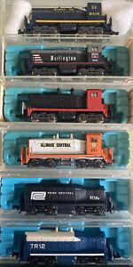n scale SW1500 Cow Calf switcher lot PC DEMO IC CBQ ATSF locomotives engines