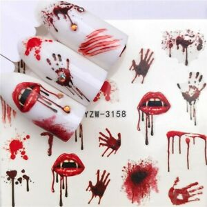 Nail Art Water Decals Stickers Transfers Vampire Lips Blood Hands Halloween