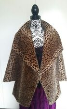 SALE Custom made big collar leopard animal faux mink fur Jacket wrap coat