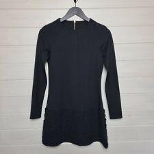 Mini Vestido Ted Baker negro una línea (tamaño 1/UK tamaño 8) con textura de tul manga larga