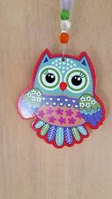 Owl & Crystal Suncatcher Car Charm Orange Purple Green Hanging Mobile