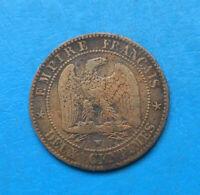 Napoléon III , 2 centimes 1855 W Lille , ancre