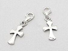 Solid Sterling Silver Cross Charm Bracelet Pendant Necklace
