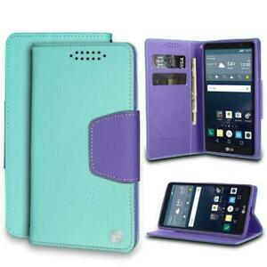 Infolio For LG G Stylo LS770/ MS631/ H631 Mint/Purple With Purple Gel/PU Leather
