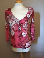Per Una Pink Mix Blouse / Ruffle Neck & Front Top - UK Size 14 / Eur 42 - BNWT