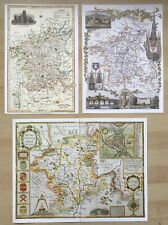 3 x Old Antique Colour maps of Worcestershire, England: 1600's & 1800's: Reprint