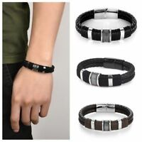 Men's Leather Bracelets Bangle Brown Concise Cuff Wristband Men's Jewerly Gifts