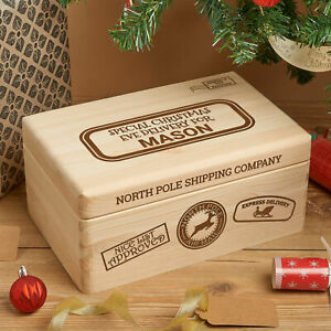 Personalised Engraved Solid Wooden Pine Christmas Eve Xmas Box