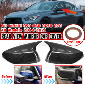Add-On Carbon Fiber Look Side Mirror Cover For Infiniti Q50 Q60 QX30 Q70 2014-21