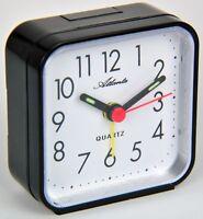Atlanta Reisewecker Schwarz Quartz Analog Wecker 059/7 Neu Alarm Clock