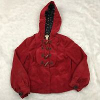 Elevenses Anthropologie Sz 0 Red Hooded Jacket Wood Button Corduroy Quilt Lined