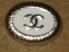 CHANEL  CC LOGO FRONT AUTH SILVER  WHITE ENAMEL BUTTON TAG 16 x 12  MM  emblum