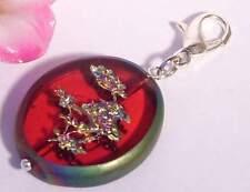 ♥ Charm Anhänger Bonsai Glas rot rainbow Regenbogen Armband ♥ AH285