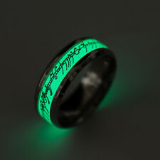 Men's Wedding Silver Glow In The Dark Stainless Steel Luminous Band Ring Size 8