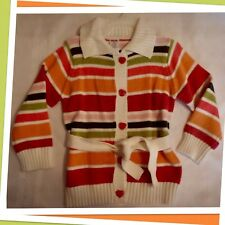 "NWT XS(3-4) Gymboree ""LITTLE HEARTS"" Striped belted Collared SWEATER CARDIGAN"