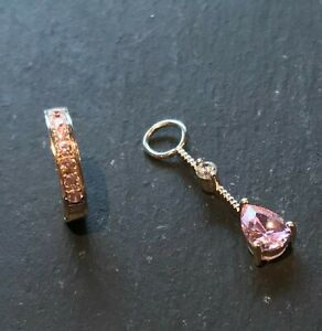 TummyToys Silver Navel Ring set with Pink CZ & Pink/Clear CZ Charm [63013&78020]