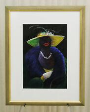 "ERIC SALISBURY - ORIGINAL ACRYLIC MEDIUM  ""THE BLUE MINK"" - AFRICAN AMERICAN ART"