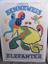 Original Ole Erik Stockmarr Benneweis Danish Modern Circus Poster Elefanter