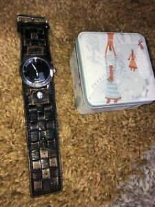 mens fossil watch big tic with Vintage Leather Strap