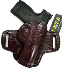 """TAGUA PREMIUM OWB Open Top Belt Holster BURGUNDY Leather - S&W M&P 9mm, 4"""""""