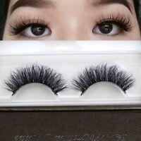 1Pair 3D Natural Bushy Cross False Eyelashes Mink Hair Handmade Eye Lashes