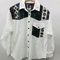 Vintage Rhymes Womens Medium Long Sleeve Button Down Blouse Boho Aztec White 850