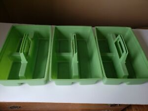 Vintage Plastic Green Carrier Caddy Tools Cleaining Supplies lot of 3