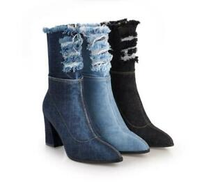 Womens Fashion Pointy Toe Frayed Denim Block Mid Heels Hot Ankle Boots Plus Size