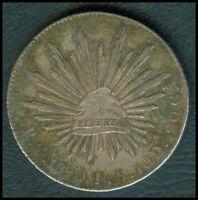 1890 MEXICO 8 Reales GA JS Silver Mexican Coin