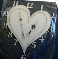 CHIPBOARD - Clock Face - Heart 3 pieces Time 17x18.5cm Scrap FX  T