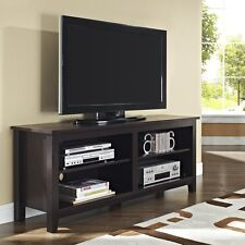 ESPRESSO Wood TV STAND Fits 60-Inch TV Brown Entertainment Console Media NEW