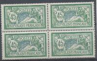 FRANCE Merson Bloc de 4 N°143 45c vert et bleu N** TB Cote 480€ P2501