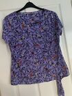 LADIES MARKS & SPENCER LILAC PATTERNED T-SHIRT TOP BLOUSE UK SIZE 16 GREAT COND