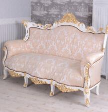énorme Canapé baroque de salon blanc ivoire prunksofa 200cm doré Louis Palazzo