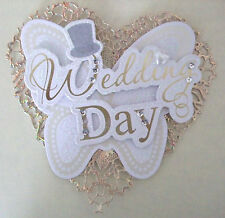 Heart Topper Wedding Day - Gold. For Wedding Cards embellished with pearl heart