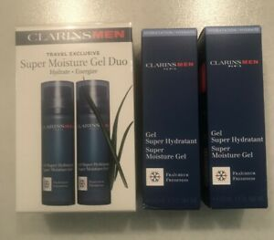 CLARINS Men Travel Exclusive Super Moisture Gel Duo (2 x 50ml) Set. Boxed/Sealed