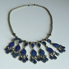 """Vintage Lapis Hand Crafted Bib Collar Necklace 22"""" 