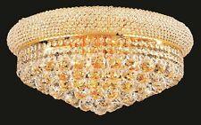 "World Capital Bangle 20"" 10 Light Crystal Chandelier Flush Mount Light Gold"