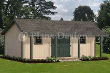 16' x 24' Guest House /Storage Shed with Porch Plans, Bonnet Roof Style #P81624