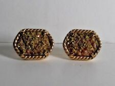 """5/8"""" L 1/2"""" W Preowned Great Condition Gold Tone Rope Edged Drusy Post Earrings"""