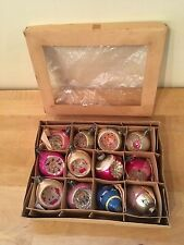 Box of 12 Vintage Glass Christmas Ornaments Glitter Indent Hand Painted Poland