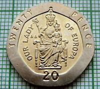 GIBRALTAR 1988 AA 20 PENCE, OUR LADY OF EUROPA, UNC