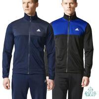 Mens Adidas Tracksuits Zipped Loose Basic Poly Black + Royal Blue Navy
