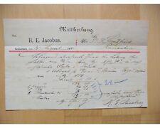 SCHIVELBEIN 1884, H.E. JACOBUS, Litho, Mitteilung Autograph an Landfried RAUENBE